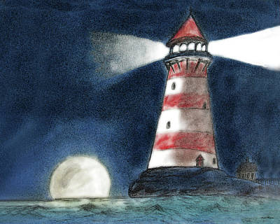 Lighthouse At Night Painting - Reflectors Of Light by Kate Hopson