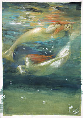 Painting - Reflexion-mermaids Subaquatic Dance by Vali Irina Ciobanu