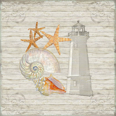 Refreshing Shores - Lighthouse Starfish Nautilus N Conch Over Driftwood Background Art Print