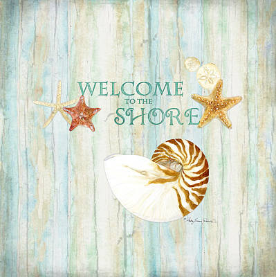 Refreshing Shores - Lighthouse Starfish Nautilus Sand Dollars Over Driftwood Background Art Print