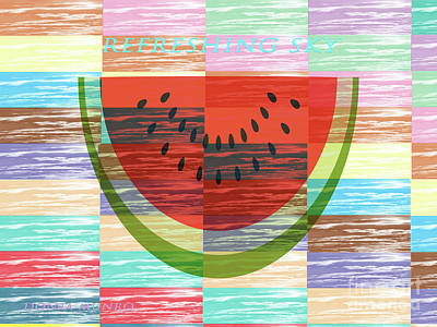 Digital Art - Refreshing Sky Watermelon by Donna Munro