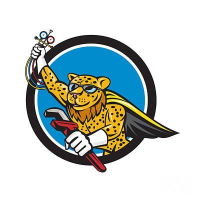 Cheetah Digital Art - Refrigeration Mechanic Leopard Superhero Circle Cartoon by Aloysius Patrimonio