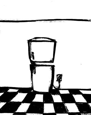 Long Center Drawing - Refrigerator by Levi Glassrock