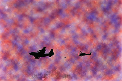 Digital Art - Refueling In Red White And Blue Clouds by Bartz Johnson
