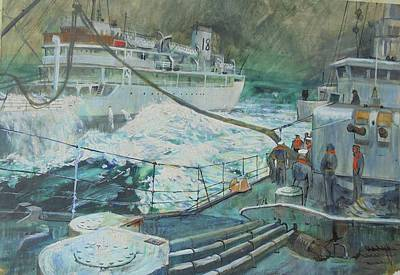 Painting - Refuelling At Sea. by Mike Jeffries