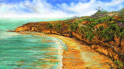 Painting - Refuge Of Tranquility - Refugio State Beach Park California Art by Lourry Legarde
