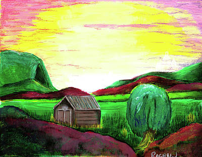 Mountain Sunset Drawing - Refuge by Rachel Jackson