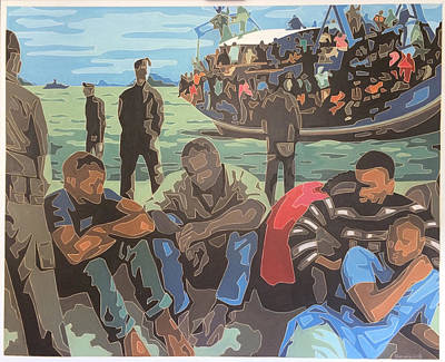 Painting - Refugee Boat by Varvara Stylidou