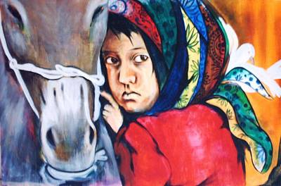Refugee Girl Painting - Refugee Girl by Surya Prakash Makarla