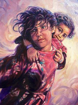 Refugee Girl Painting - Refugees by Ed Breeding