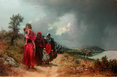 Painting - refugees  leaving their town-Trapezounta by Demetrios Vlachos