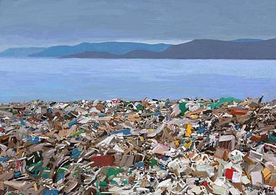 Post Apocalyptic Painting - Rubbish Bay by Dennis Kirby