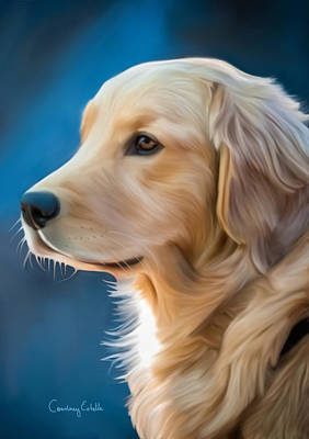 Gold Labrador Painting - Regal Golden Retriever by Courtney Caruso