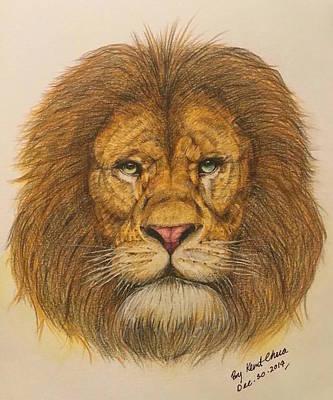 Regal Lion Hand-drawn Art Print by Kent Chua