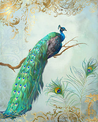 Illustrator Painting - Regal Peacock 1 On Tree Branch W Feathers Gold Leaf by Audrey Jeanne Roberts
