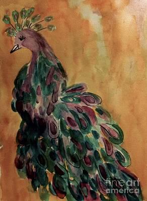 Painting - Majestic Peacock - Vintage by Ellen Levinson