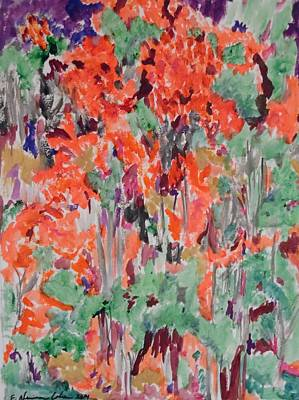 Painting - Regal Red Fall Foliage by Esther Newman-Cohen