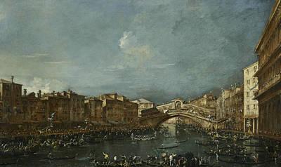 Painting - Regatta At The Rialto Bridge by Treasury Classics Art