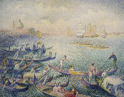 Divisionist Painting - Regatta In Venice by Henri-Edmond Cross