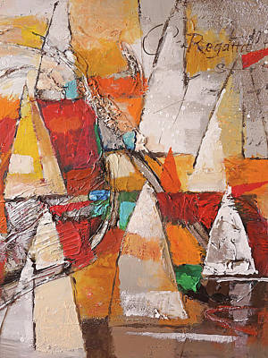 Abstract Seascape Painting - Regatta Pastoso by Lutz Baar
