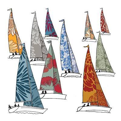 Nautical Digital Art - Regatta by Sarah Hough