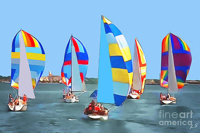 Drawing - Regatta by Sergey Lukashin