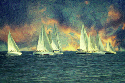 Waterscape Painting - Regatta by Taylan Apukovska