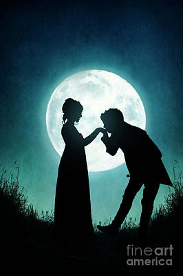 Print featuring the photograph Regency Couple Silhouetted By The Full Moon by Lee Avison