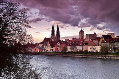 Regensburg Old Town From Stadtamhof Art Print