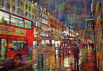 Wall Art - Mixed Media - Regent Street In The Rain by Mal Bray
