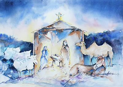 Reggie Painting - Reggie And The Nativity by Adam VanHouten