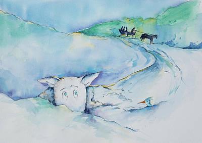 Reggie Painting - Reggie In The Snow Bank by Adam VanHouten