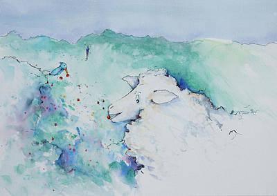 Reggie Painting - Reggie Nibbles Winter Berries by Adam VanHouten
