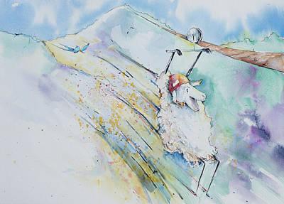 Reggie Painting - Reggie On The Zipline by Adam VanHouten
