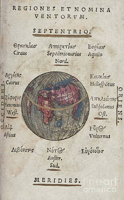 Photograph - Regiones Et Nomina Ventorvm Map By Johannes Honter 1542 by Rick Bures