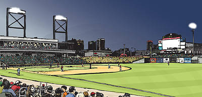 Game Lights Drawing - Regions Field by Greg Smith