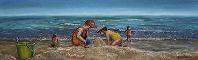 Sand Castles Painting - Rehoboth Beach Delaware by Joyce Lapp