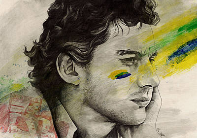 Sport Car Drawing - Rei Do Brasil - Tribute To Ayrton Senna Da Silva by Marco Paludet