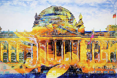 Berlin Mixed Media - Reichstag And Flower by Nica Art Studio