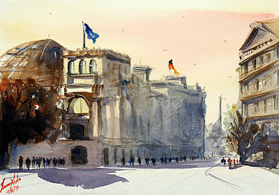 Berlin Germany Painting - Reichstag Dome, Berlin by James Nyika