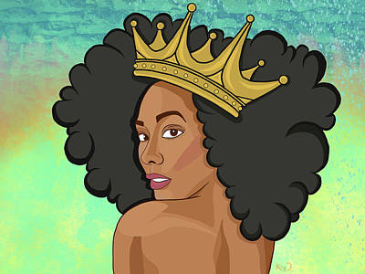 Black Digital Art - Reigning Queen by The King Gallery