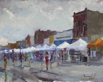 Main Street Painting - Rein And Sun At Canal Fest In North Tonawanda by Ylli Haruni