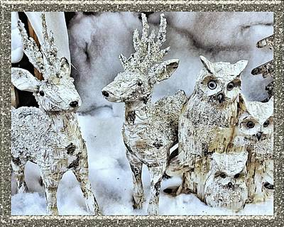 Photograph - Reindeer And Owls Holiday Celebration 2 by Rachel Hannah