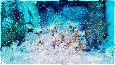 Photograph - Reindeer And Owls Holiday Celebration by Rachel Hannah