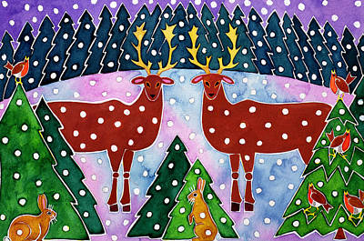 Reindeer Painting - Reindeer And Rabbits by Cathy Baxter
