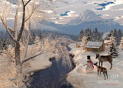 Reindeer And The Snowman Art Print