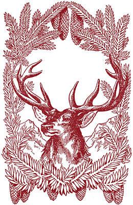 Drawing - Reindeer Christmas Stag by R Muirhead Art