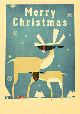 Cartoonist Mixed Media - Reindeer by Daviz Industries