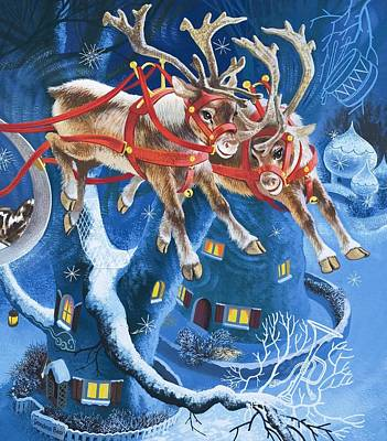 Reindeer Painting - Reindeer by English School