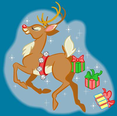 Digital Art - Reindeer Gifts by J L Meadows